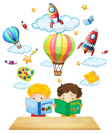 reader: Two kids reading english books illustration