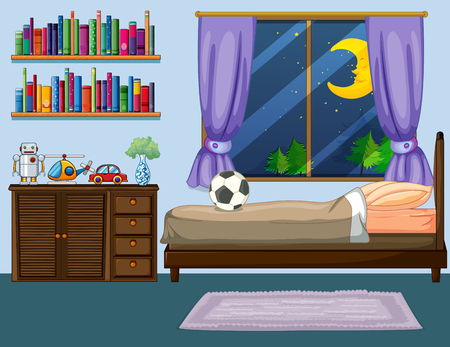 Bedroom scene with wooden furniture illustration