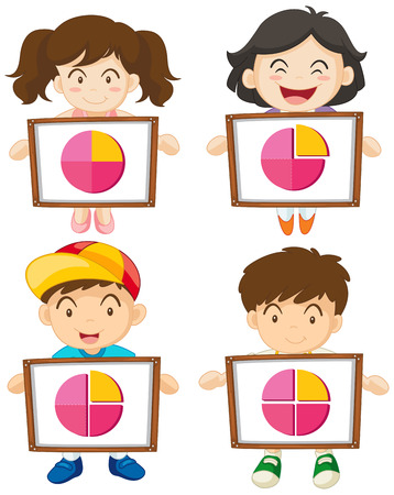 Four kids holding sign with piecharts illustration