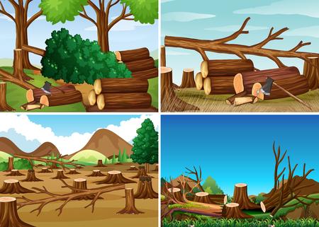 Ontbossing scènes met gehakte bos illustratie Stock Illustratie