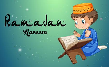Muslim boy reading bible illustration