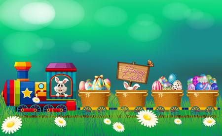 Ostereier und Häschen in der Zugillustration Standard-Bild - 82339047
