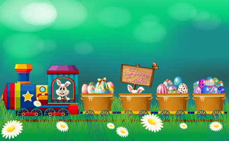 Easter eggs and bunny in the train illustration