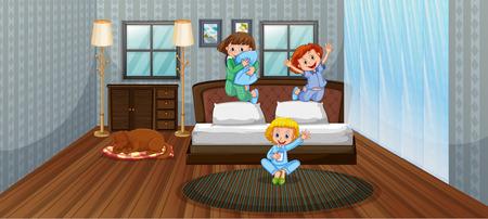 Three kids having fun in bedroom illustration Illustration