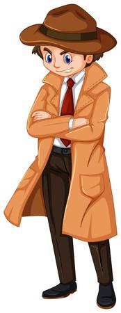 Detective wearing brown overcoat and hat illustration Illustration