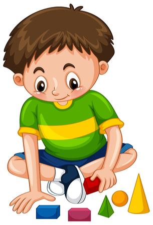 Boy playing with shape blocks illustration