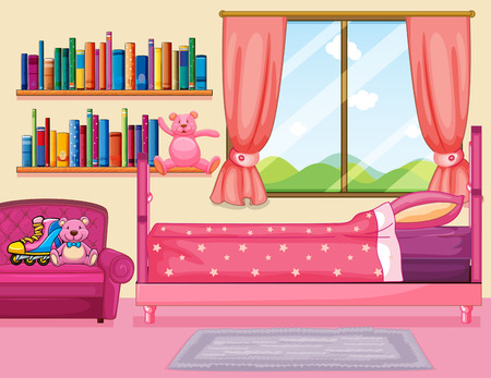 Bedroom scene with pink bed illustration Фото со стока - 82339066