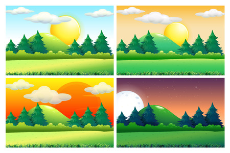 Four scenes of green fields at different times of day illustration