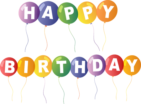Happy Birthday Card Template With Colorful Balloons In Background