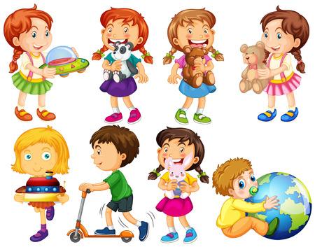 작은 소년과 소녀 장난감 그림을 가지고 노는