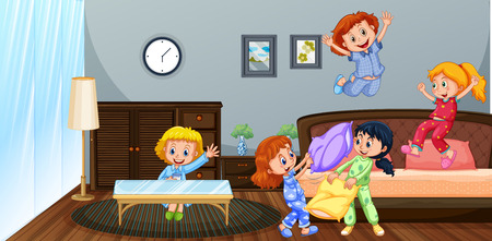 Many children playing in bedroom illustration