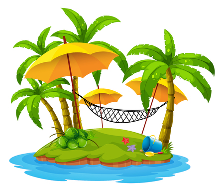 Coconut trees and hammock on island illustration Stock Illustratie