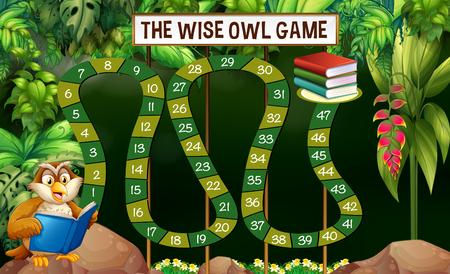 Plantilla de juego con libro de lectura de búho en la ilustración de la selva Foto de archivo - 82339114