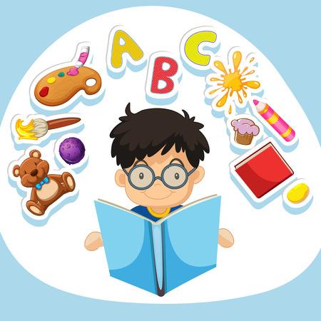 niño parado: Niño pequeño libro de lectura de la ilustración