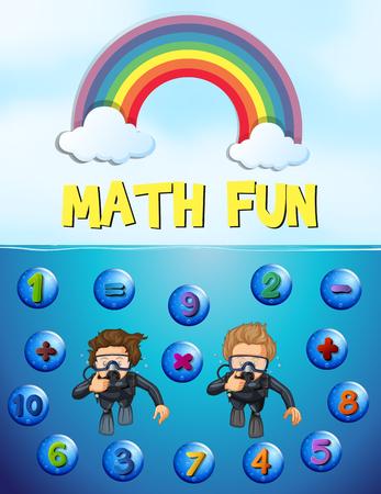 Worksheet design for math with underwater background illustration Illustration
