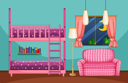 Bedroom with bunkbed and pink sofa illustration