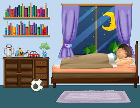 夜の図で寝室で寝ている少年  イラスト・ベクター素材