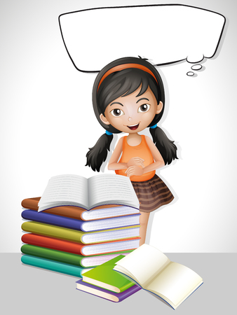niños platicando: Speech bubble template with girl and books illustration Vectores