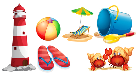 Lighthouse and different kinds of beach items illustration