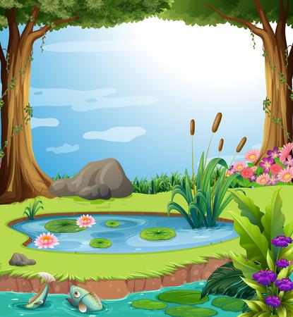Scène forestière avec des poissons dans l'étang Illustration