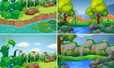 Four scenes with river and trees illustration