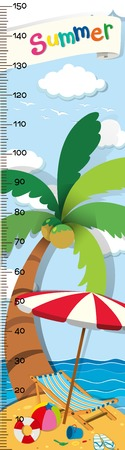 Height measurement chart with beach background illustration Illustration