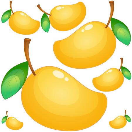 Seamless background with fresh mango illustration Banco de Imagens - 82339450