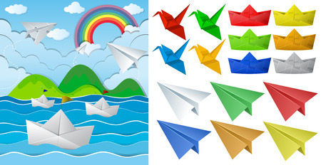 Ocean scne and paper origami in different objects illustration