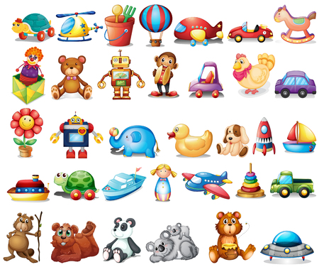 Different types of toys illustration Stock fotó - 82339458