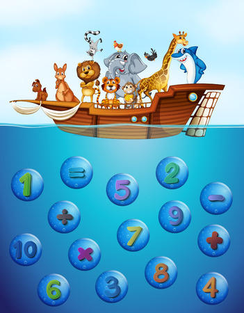Numbers underwater and animals on the ship illustration