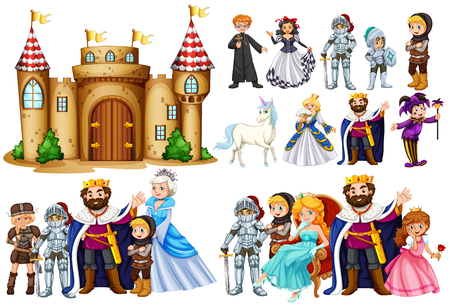 Fairytale characters and castle building illustration