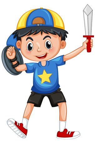 Little boy with armour and sword illustration