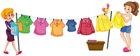 Two women doing laundry illustration Illustration