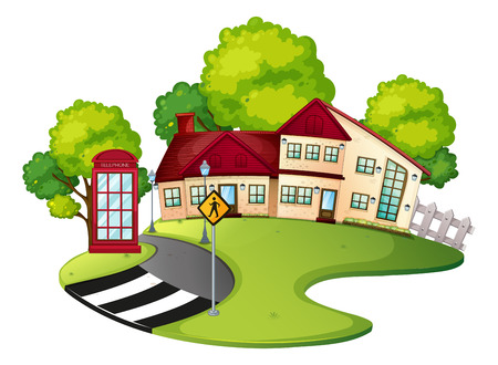 Neighborhood scene with house and road illustration Illustration