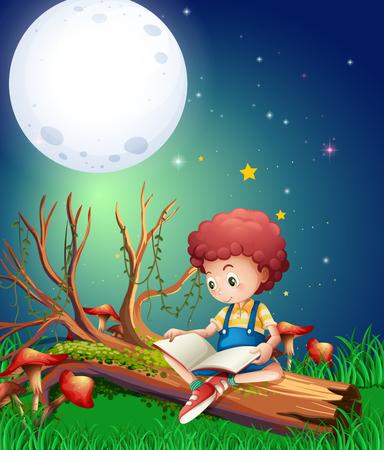 Little boy reading book in garden at night illustration Illustration
