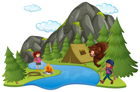 Camping site with campers and big bear illustration
