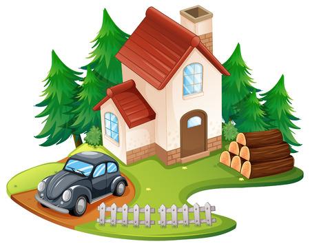 tree log: Single house with black car parked in front illustration Illustration