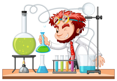 Mad scientist mixes chemical in lab illustration Vettoriali