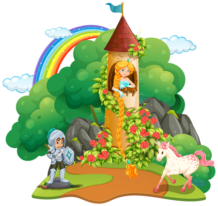 Fairytale scene with knight and princess illustration.