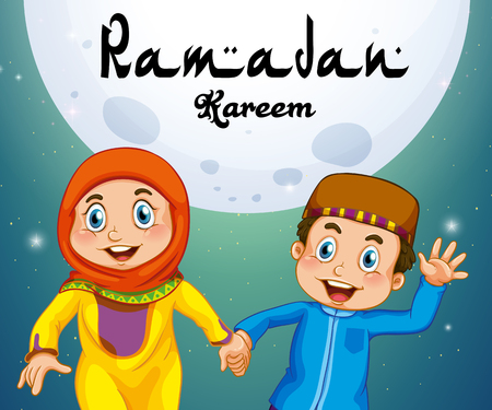 Two muslims holding hands illustration.