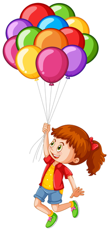 floating: Happy girl with colorful balloons illustration.