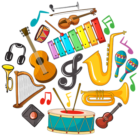Different types of musical instruments illustration. Иллюстрация