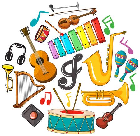 Verschillende soorten muziekinstrumenten illustratie.