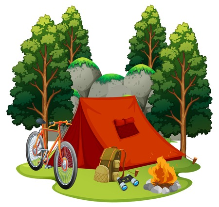 Camping site with tent and campfire illustration.
