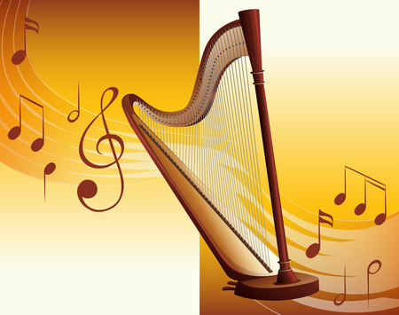 Classic harp with music notes in background illustration. Ilustracja