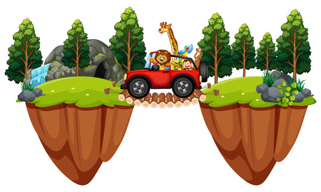 Scene with wild animals in the jeep illustration. Illustration