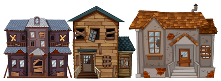 Three old houses with broken windows illustration.