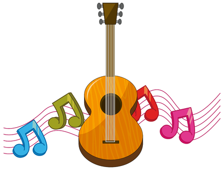 Classic guitar with music notes in background illustration