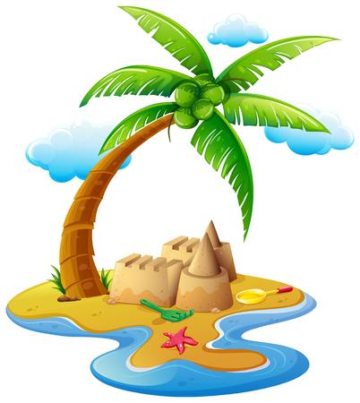 Ocean scene with sandcastle on island illustration. Illustration