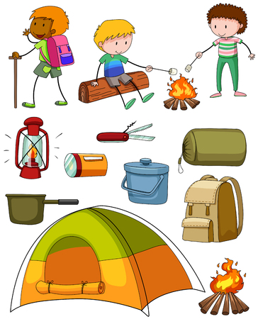 Camping set with campers and tent illustration Ilustração